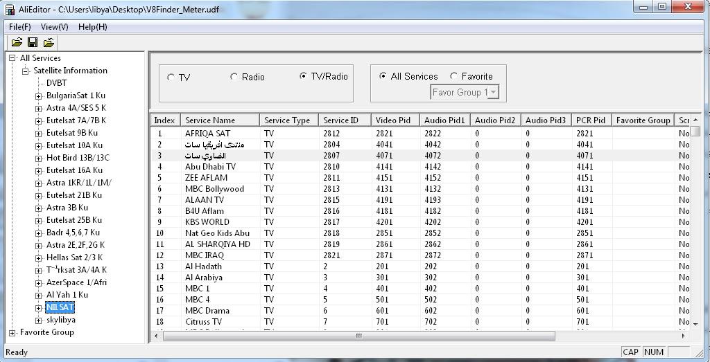 برنامج AliEditorV1.2 لتعديل وترتيب قنوات